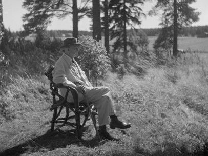 Santeri Levas: Jean Sibelius in his tree root chair in the border area of the Ainola grounds, 1940-1945