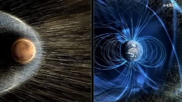 Resultado de imagen de Los vientos solares arrancaron el campo matn´ñetico de Marte