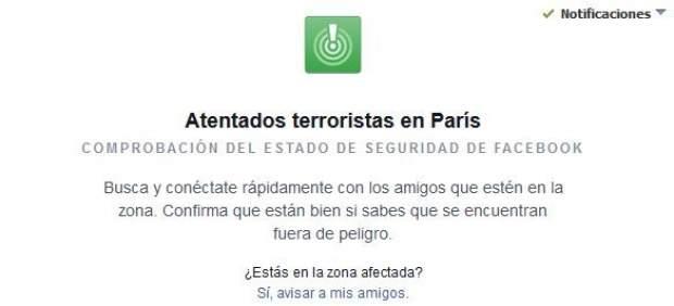 Alerta de Facebook por ataques de París.