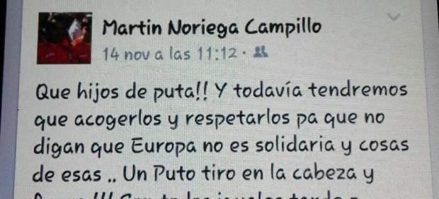 Mensaje de Martín Noriega en Facebook
