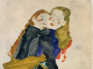 Egon Schiele, Kneeling Girls, 1911