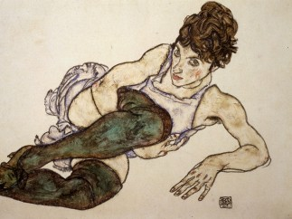 Egon Schiele, Reclining woman with green stockings, 1917