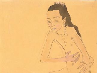 Oskar Kokoschka, Sitting girl nude, 1908