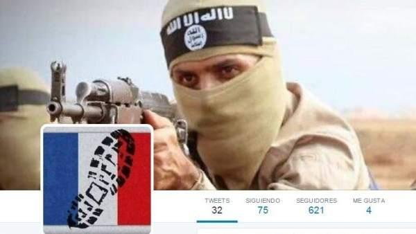Perfíl de Twitter de un yihadista