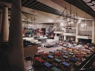 3C+t Capolei Cavalli (Giancarlo Capolei, Pinini Capolei, Manlio Cavalli), interior of the Piper club, with stage mural by Claudio Cintoli, Rome, 1965