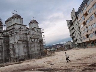 Construction of an Orthodox church and new buildings in the city centre. Pale, March 2015