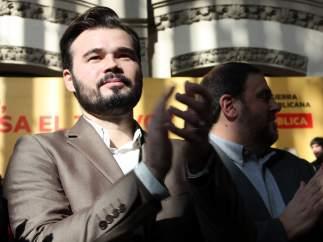 Gabriel Rufi�n, candidato de ERC a las generales, con Oriol Junqueras.