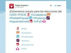 Twitter anima el debate electoral con emojis de los partidos pol�ticos