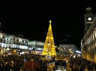 Puerta del Sol de Madrid iluminada