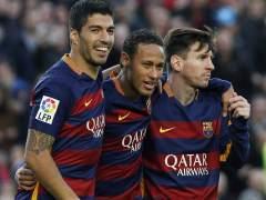 Neymar, Luis Su�rez y Messi pasan por encima de la Real