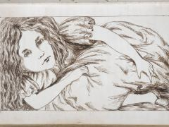 'A drawing of Alice from Lewis Carroll's manuscript of Alice's Adventures Under Ground', written between 1862-64