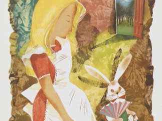 An illustration of Alice with the White Rabbit from an illustrated edition of Alice's Adventures in Wonderland by Leonard Weisgard (1949)