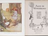 Title page of the 1910 edition of Lewis Carroll's Alice in Wonderland pictured by Mabel Lucie Attwell