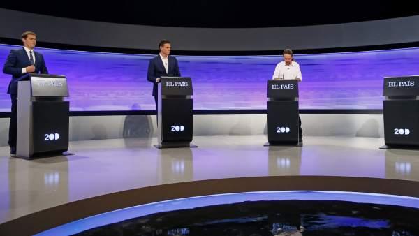 Albert Rivera, Pedro Sánchez y Pablo Iglesias