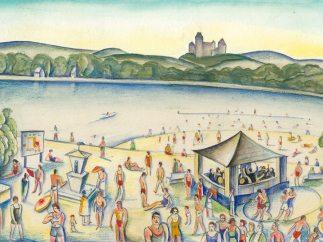 'Strandbad Kritzendorf', Entwurf für ein Deckelinnenbild, 1928