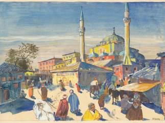 Konstantinopel, Entwurf für ein Deckelinnenbild, 1928