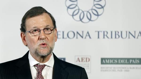 Mariano Rajoy, durante su intervención en la tribuna organizada por el diario La Vanguardia