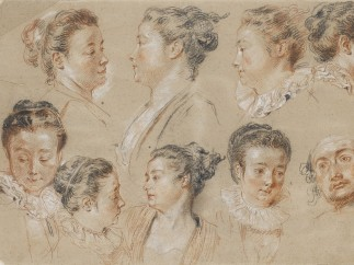 Antoine Watteau, Eight studies of woman's heads, and a man's head