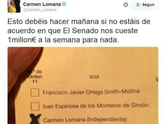 Imagen del tuit de Carmen Lomana que posteriormente eliminó.