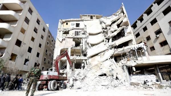 Edificio en ruinas tras un ataque en Damasco.