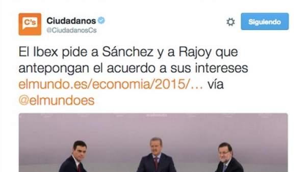 Ciudadanos crea polémica al tuitear una noticia con opiniones del Ibex 35