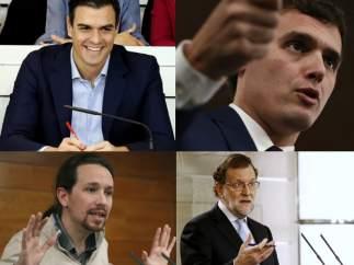Los líderes de Ciudadanos, PP, PSOE y Podemos