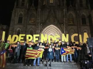Concentración de la ANC frente a la Catedral de Barcelona.