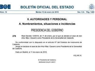 Cese Artur Mas BOE