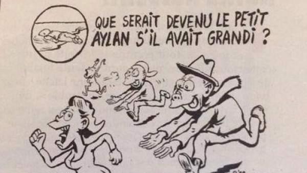 Caricatura de Aylan en Charlie Hebdo