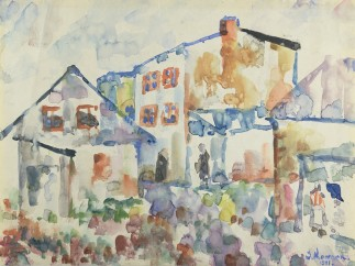 Josef Kowner - Eine Straße im Ghetto von Łodz / A Street in Łodz Ghetto, 1941