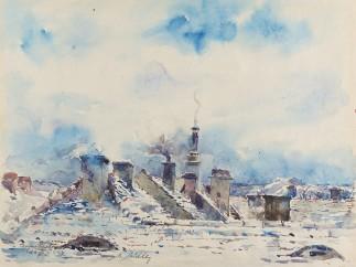 Moritz Müller - Dächer im Winter / Rooftops in the Winter, 1944