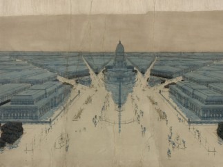 Jules Guerin's painting of Burnham and Bennett's Plan for post-fire Chicago, 1909