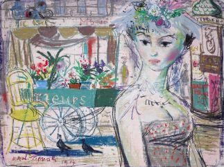 'Junges Mädchen vor Blumenwagen', 1957