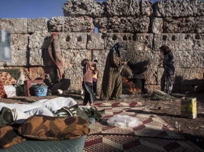 Mujeres desplazadas en Siria.