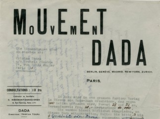 Front of the Dadaglobe request letter from Tristan Tzara, Francis Picabia, Georges Ribemont-Dessaignes and Walter Serner to Alfred Vagts, 1920