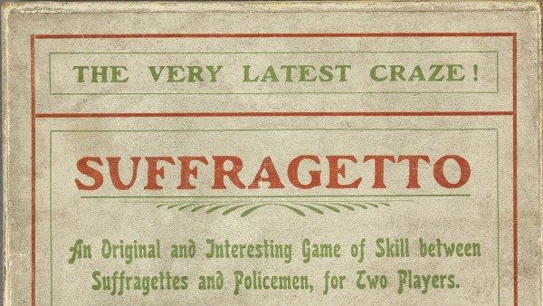Suffragetto Board, with box containing rules and 42 pieces (complete). [Sargeant Bros, c. 1917]