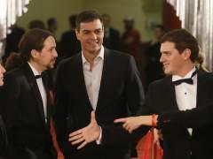 Pablo Iglesias, Albert Rivera y Pedro Sánchez en los Goya