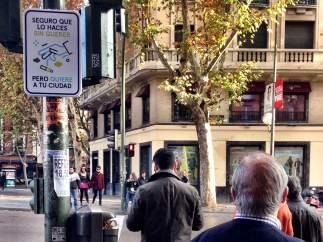 Señal que conciencia para luchar contra la suciedad en Madrid