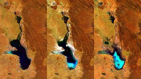 Evaporación del lago Poopó de Bolivia