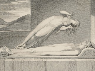 The Soul hovering over the Body reluctantly parting with Life. Print Luigi Schiavonetti, After William Blake