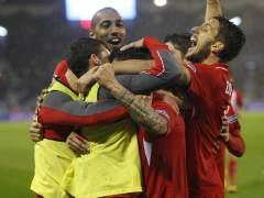 Jugadores del Sevilla celebrando