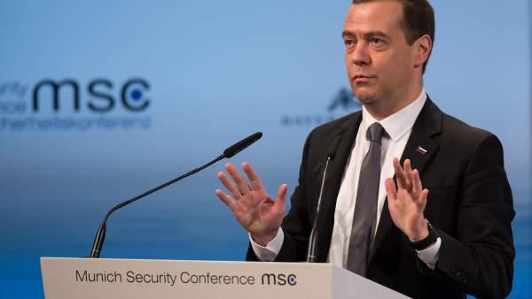 El primer ministro ruso habla en la 52º Conferencia de Seguridad en Munich.