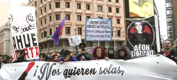 Manifestación a favor de los titiriteros