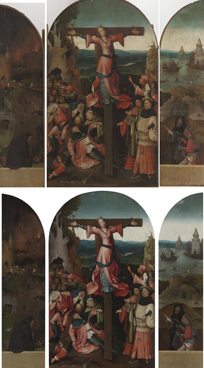 Hieronymus Bosch - Saint Wilgefortis Triptych, c. 1495–1505  . Otro de los trípticos restaurados de El Bosco