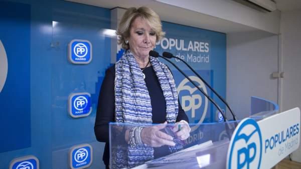 Aguirre dimite como presidenta del PP de Madrid