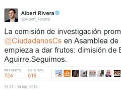 Podemos y Ciudadanos se atribuyen la dimisión de Esperanza Aguirre