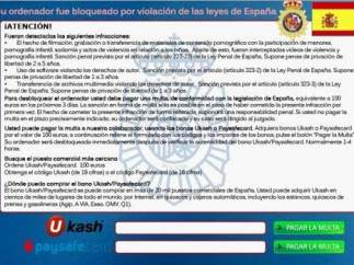 Mensaje con el escudo y formato del Cuerpo Nacional de Policía que aparecía en los ordenadores tras infectarse con el 'virus de Policía'.