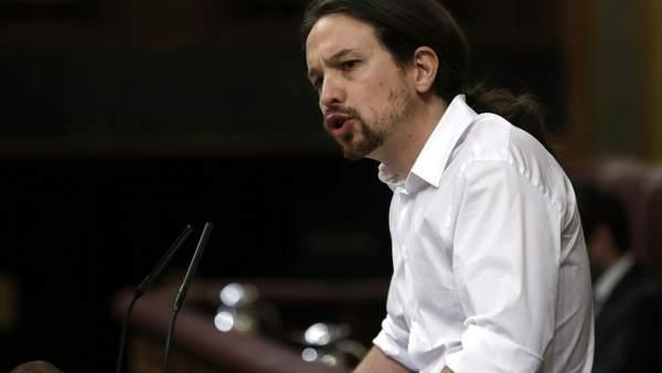 Iglesias, durante su intervención en el Congreso.