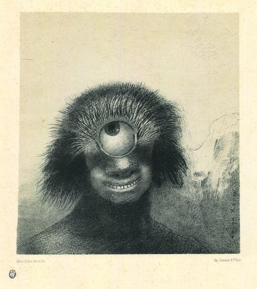 """Odilon Redon - """"Il Polipo difforme ondeggiava sulle rive, sorta di ciclope sorridente e orrido"""", dalla serie Les Origines, 1883. Un cíclope en una litografía de la serie 'Los orígenes', de Odilon Redon"""