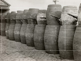 Barricade made from barrels, 1916